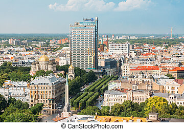 Riga, Latvia. Riga Cityscape In Sunny Summer Day. Top View...
