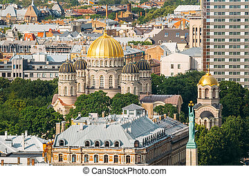 Riga, Latvia. Cityscape In Sunny Summer Day. Top View Of...