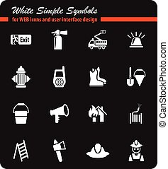 fire brigade icon set - fire brigade white simple symbols...