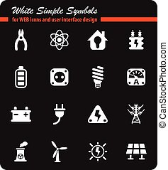electricity icon set - electricity white simple symbols for...
