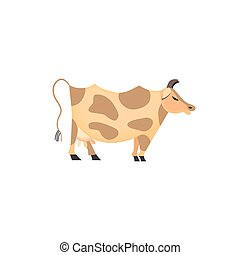 Domestic Animal icon. Dairy cattle sign. Freehand drawn...