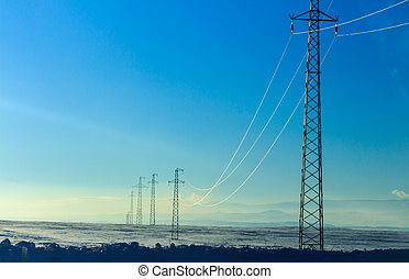 Winter Season Landscape and Power Lines