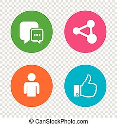 Social media icons. Chat speech bubble and Share.