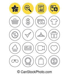 Shopping icons. Shirt, gift box and currency. - Report, best...