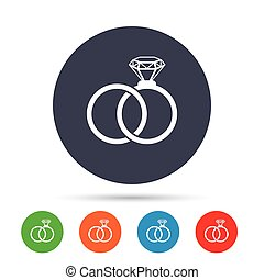 Wedding rings sign icon. Engagement symbol. Round colourful...