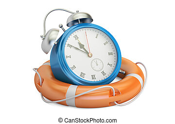 Alarmclock in lifebuoy, save time concept. 3D rendering...