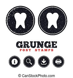 Tooth sign icon. Dental care symbol. - Grunge post stamps....