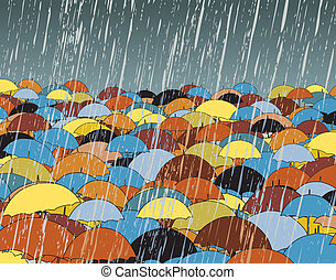 Umbrellas - Editable vector illustration of colorful...