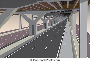 Under the tollway - Vector illustration of a carless highway...