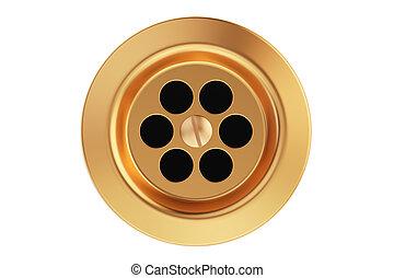 Kitchen sink drain, round plug hole. 3D rendering