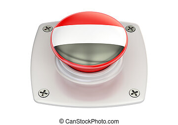 Yemen flag push button, 3D rendering