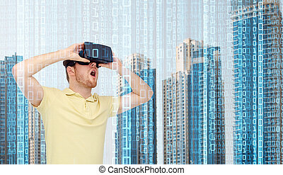 happy man in virtual reality headset or 3d glasses - modern...