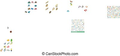 100 sport icons set, isometric 3d style - 100 sport icons...