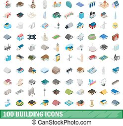 100 building icons set, isometric 3d style