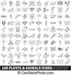 100 plants and animals icons set, outline style