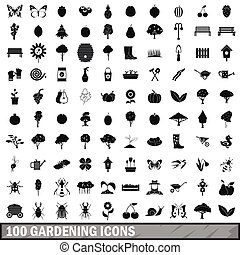 100 gardening icons set in simple style for any design...