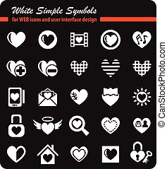 heart love icon set - heart love white simply symbols for...