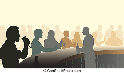 Wine bar - Editable vector silhouettes of people in a wine...
