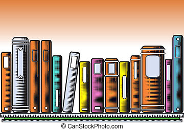 Woodcut books - Editable vector illustration of colorful...