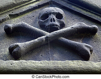 Goth skull and bones from a gothic churchyard