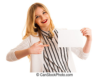 cute young business woman golds blank paper with place for advertisement or text