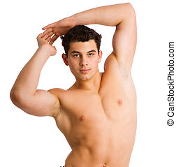 Young athlete man posing half naked isolated on white