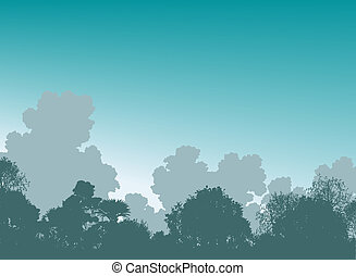 Woodland treetops - Editable vector illustration of tree...