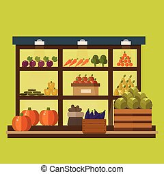 Fruit and vegetables shop stall. market fruits silhouette....