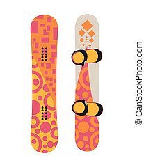 Snowboard sport boards elements isolated on white