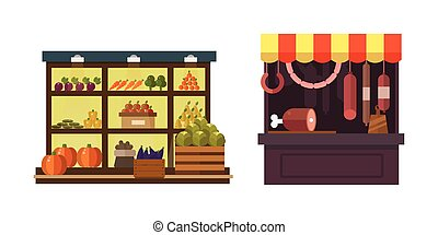 Fruit, vegetables, milk products, meat, bakery shop stall...