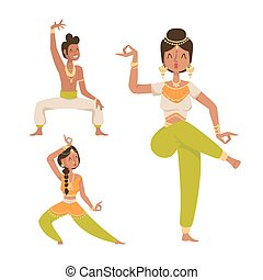 Indian woman man dancing vector isolated dancers silhouette...