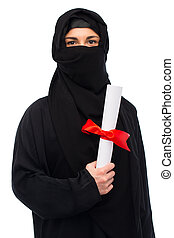 muslim woman in hijab with diploma over white