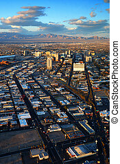 Las Vegas Strip - Las Vegas street Skyline aerial view with...