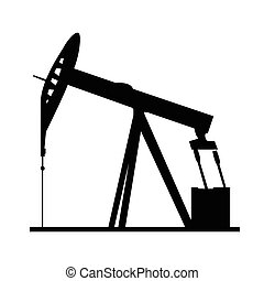 Isolated oil well silhouette - Isolated silhouette of an oil...
