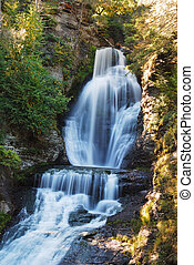 Waterfall with Autumn foliage From Digman Falls,...