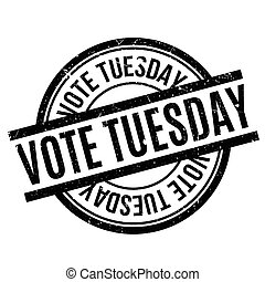 Vote Tuesday rubber stamp. Grunge design with dust...