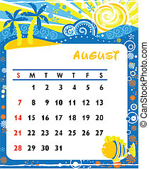 August - Beautiful vector decorative Frame for calendar -...