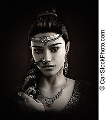 Maya, 3d CG - 3d computer graphics of a Portrait of a young...