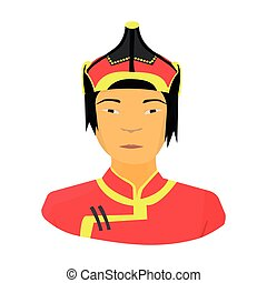 The Mongols in the helmet.Mongolian national protection.Mongolia single icon in cartoon style vector symbol stock illustration.