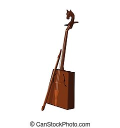 Wooden musical instruments of Mongol .National music of the Mongolian.Mongolia single icon in cartoon style vector symbol stock illustration.