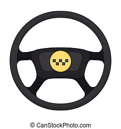 Black wheel with yellow emblem of taxi. The element to...