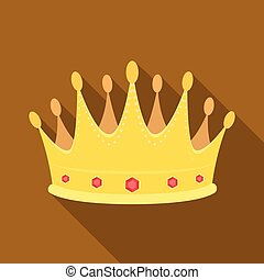 Golden crown with diamonds the winner of the beauty contest.Awards and trophies single icon in flat style vector symbol stock illustration.