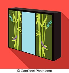 Wardrobe with mirror and green doors. the place for clothes.Bedroom furniture single icon in flat style vector symbol stock illustration.