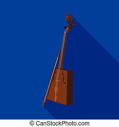 Wooden musical instruments of Mongol .National music of the Mongolian.Mongolia single icon in flat style vector symbol stock illustration.