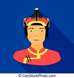 The Mongols in the helmet.Mongolian national protection.Mongolia single icon in flat style vector symbol stock illustration.