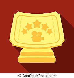 Silver prize with star, and camera on a stand.Movie awards single icon in flat style vector symbol stock illustration.