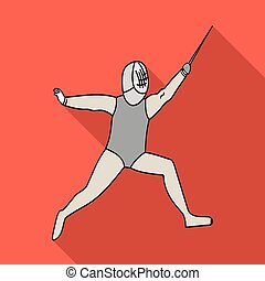 The athlete outfit with a sword.Fencing competitions .Olympic sports single icon in flat style vector symbol stock illustration.