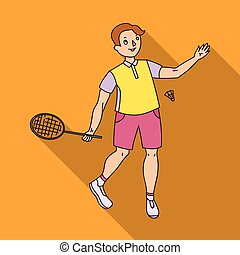Young people involved in badminton. The game of badminton with a partner.Olympic sports single icon in flat style vector symbol stock illustration.