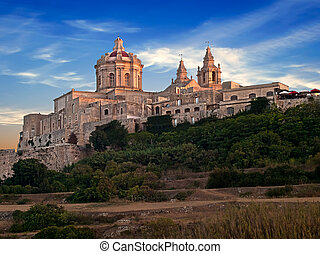 Mdina at Dusk - The beautiful city of Mdina gently kissed by...