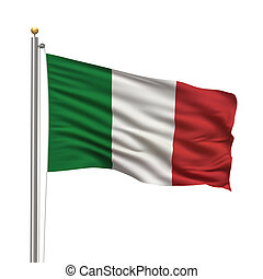 Flag of Italy with flag pole waving in the wind over white...